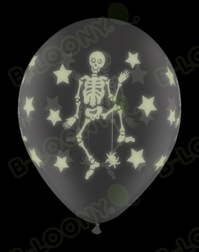 11 Inch Latex Balloons Glow Skeletons Wrap
