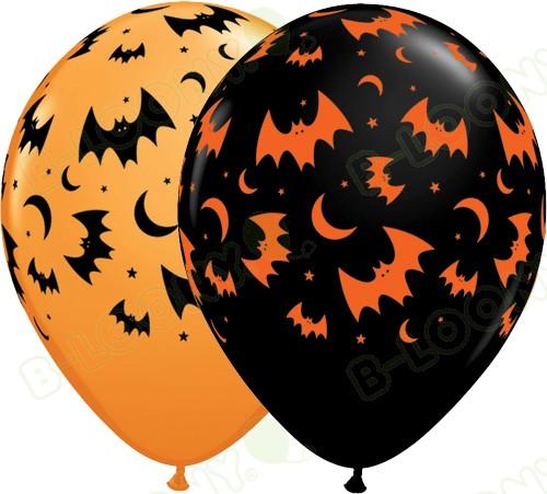11 Inch Latex Balloons Flying Bats & Moons