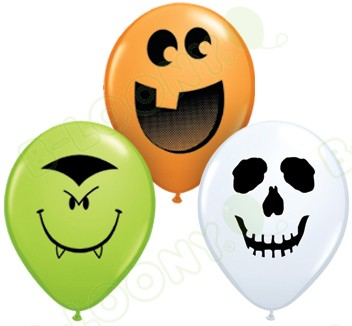 5 Inch Latex Balloons Halloween Face Assorted