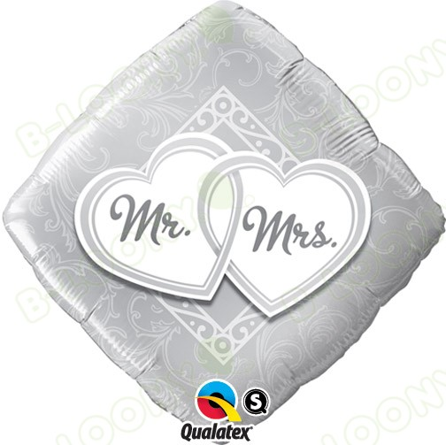"Qualatex 18"" Foil Balloon Mr & Mrs Entwined Hearts (Silver)"