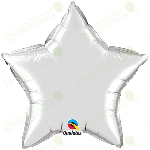 """Qualatex 36"""" Foil Balloon Star Metallic Silver"""