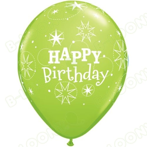 Lime Green Birthday Balloons Sparkle Latex
