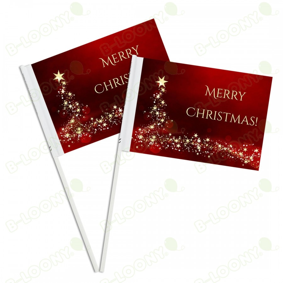 Christmas Promotional Printed Paper Handwaving Flags