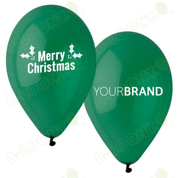 Merry Christmas Printed Latex Balloons Green