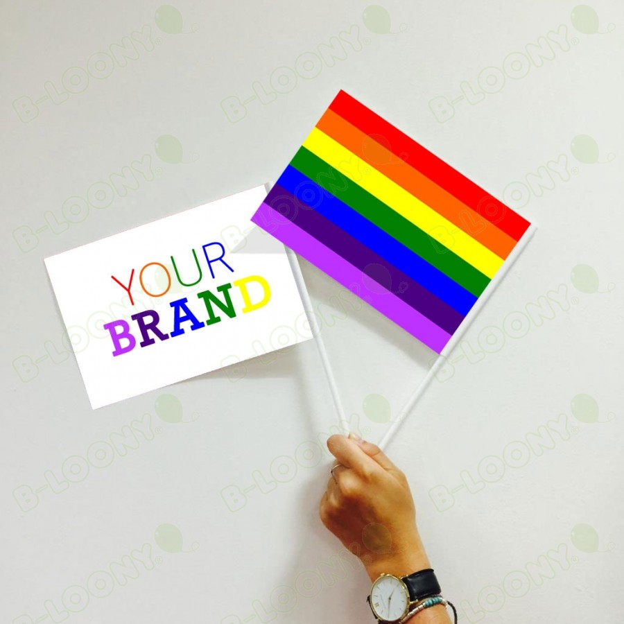 Branded Rainbow Hand Waving Flags for Pride