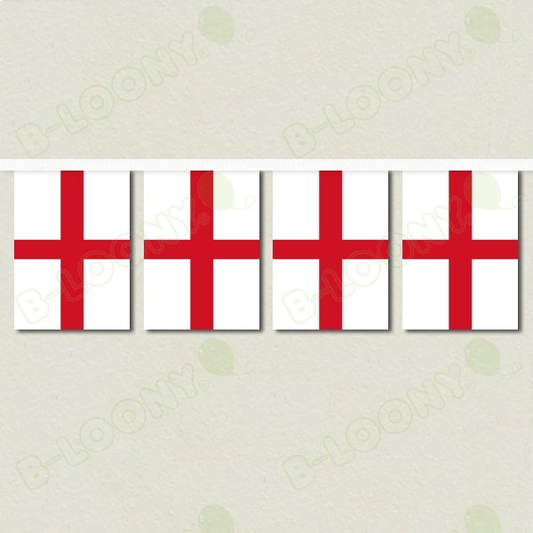 St George Cross England Bunting with White Webbing