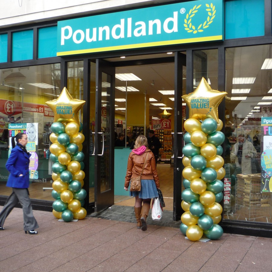 Balloon Columns with Printed Star Topper for Poundland