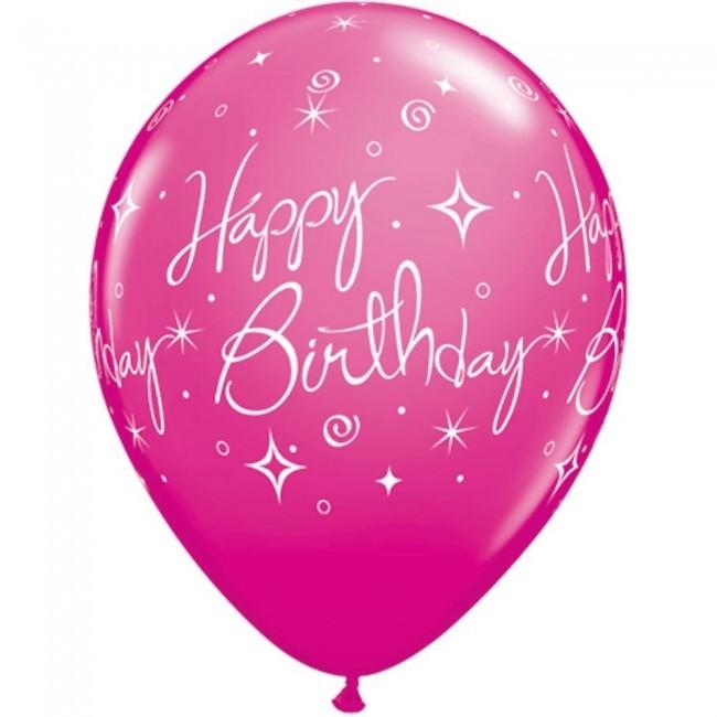 "11"" Elegant Sparkles & Swirls Latex Brithday Balloons in Wild Berry Pink"