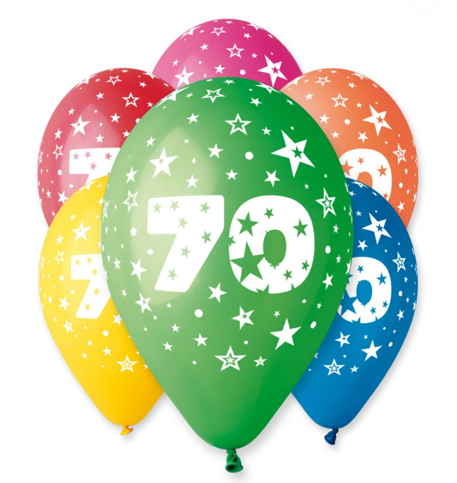 """Number 70 Birthday Balloons in Assorted Colours 12"""" (25 Pack)"""