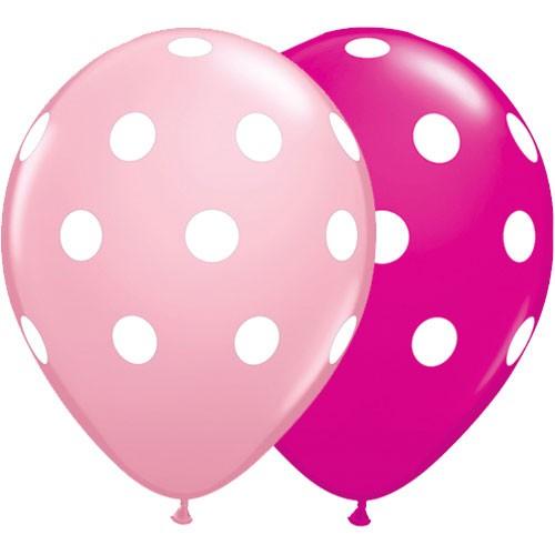 Big Polka Dots Latex Balloons Pink & Wild Berry