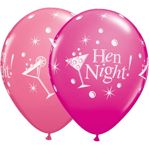 Hen Night Bubbly Latex Balloons in Wild Berry & Rose (25 Pack)