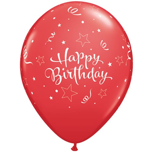 """11"""" Shining Star Latex Birthday Balloons in Red (Pack of 25)"""