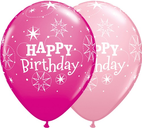 """11"""" Birthday Sparkle Latex Balloons in Pink & Berry (Pack of 25)"""
