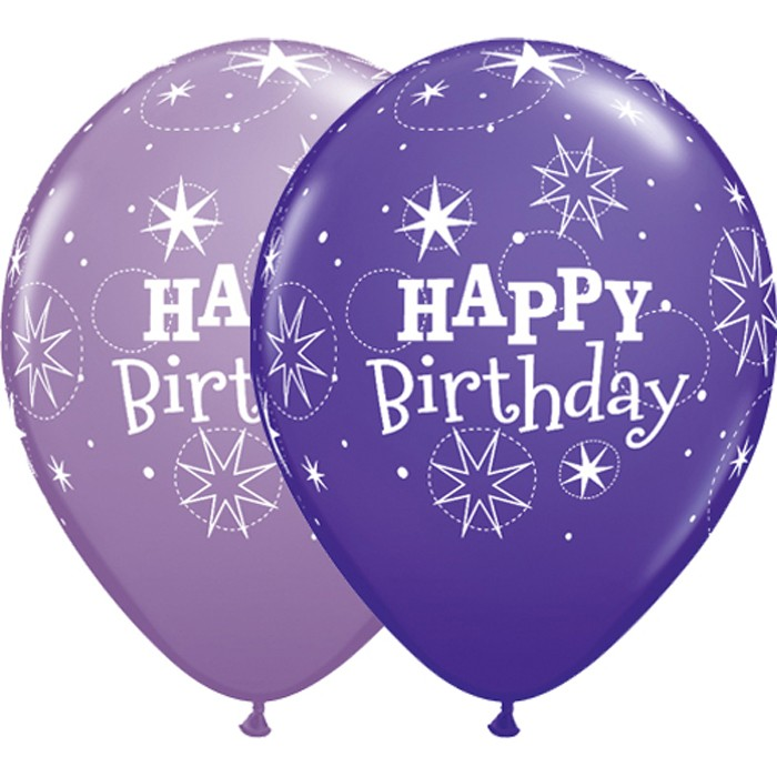 Latex Sparkle Birthday Balloons in Purple Violet & Spring Lilac