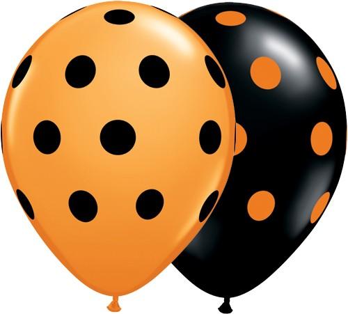 11 Inch Latex Balloons Big Polka Dots Black and Orange