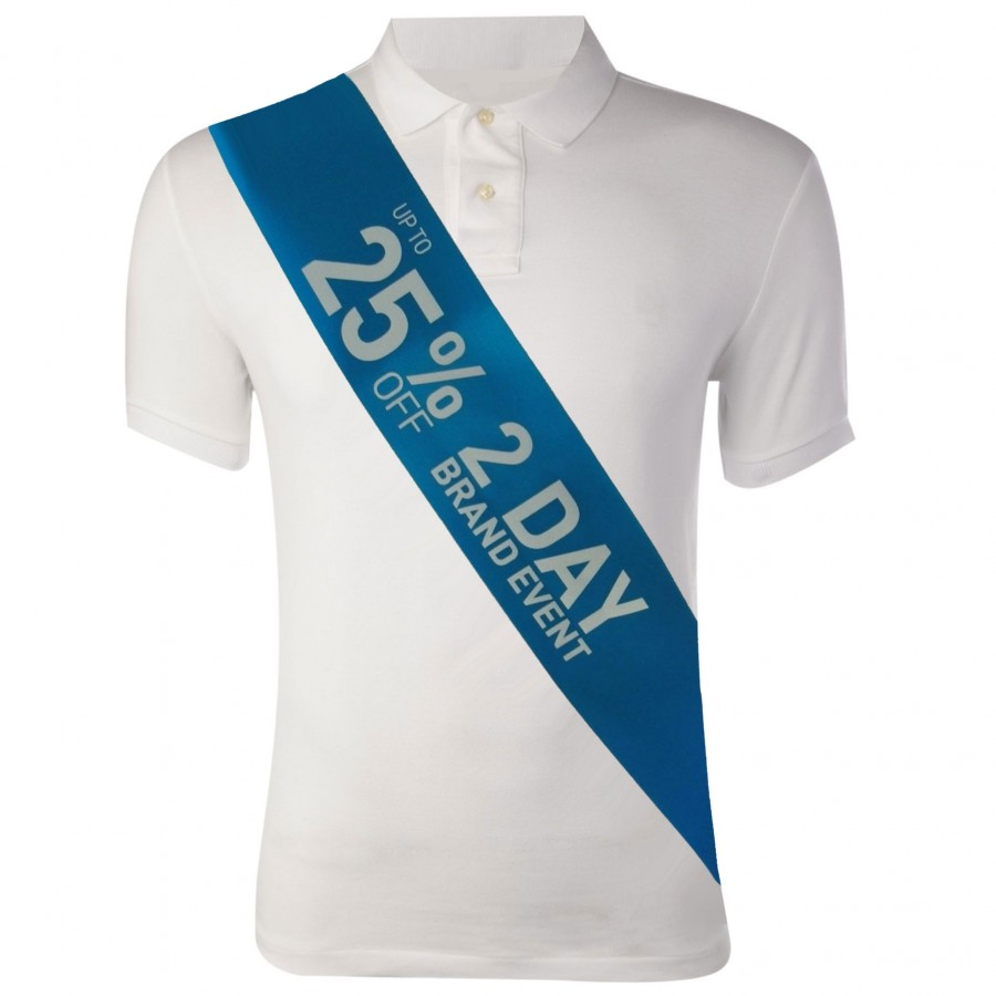 Blue Printed Promotional Sash with 1 Colour Print