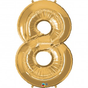 Giant Number 8 Foil Balloon Gold