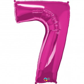 Giant Number 7 Foil Balloon Magenta