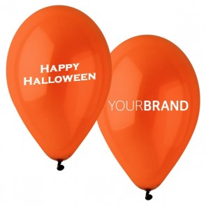 Happy Halloween Printed Latex Balloons Orange