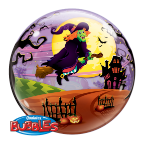 22 Single Bubble Balloon Flying Witch Spooky Brew Front