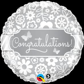 "Qualatex 18"" Foil Balloon Congratulations Butterflies (White & Silver)"
