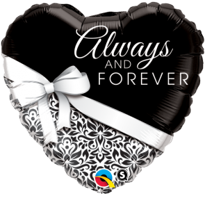 """Qualatex 18"""" Foil Balloon Always and Forever (Black and White)"""