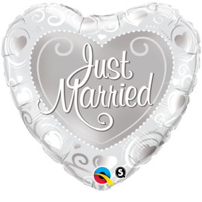 """Qualatex 18"""" Foil Balloon Just Married Hearts (Silver)"""