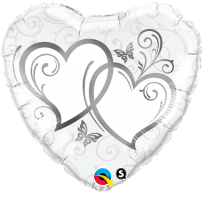 """Qualatex 18"""" Foil Balloon Entwined Hearts (Silver)"""