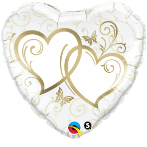 """Qualatex 18"""" Foil Balloon Entwined Hearts (Gold)"""