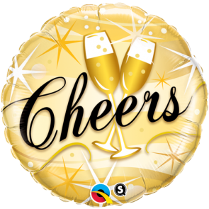 """Qualatex 18"""" Foil Balloon Cheers Starbursts Champagne Glasses"""