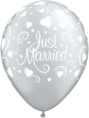 """Qualatex 11"""" Latex Balloons Just Married Hearts - Silver (Pack of 25)"""
