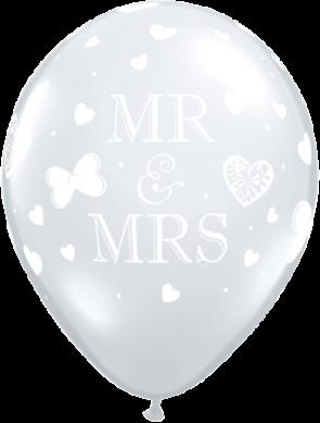 "Qualatex 11"" Latex Balloons Mr & Mrs - Diamond Clear (Pack of 50)"