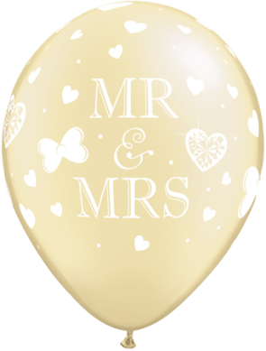 """Qualatex 11"""" Latex Balloons Mr & Mrs - Pearl Ivory (Pack of 25)"""