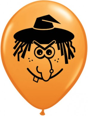 5 Inch Latex Balloons Witch Face