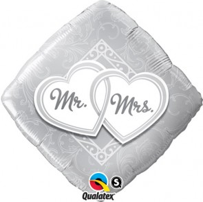 """Qualatex 18"""" Foil Balloon Mr & Mrs Entwined Hearts (Silver)"""