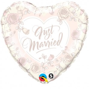 Qualatex 18 Inch Foil Balloon Just Married Roses (Rose Pink)
