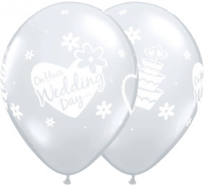 """Qualatex 11"""" Latex Balloon On Your Wedding Day - Diamond Clear (Pack of 25)"""