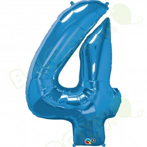 Giant Number 4 Foil Balloon Sapphire Blue