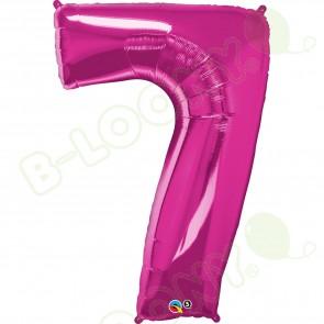 Giant Number 7 Foil Balloon Magenta