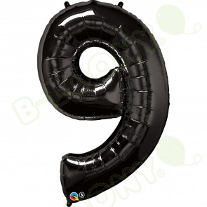 Giant Number 9 Foil Balloon Black