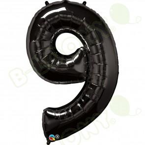 Giant Number 9 Foil Balloon Black