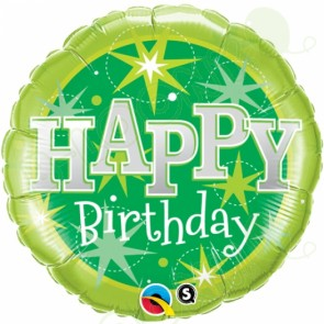 "18"" Foil Birthday Sparkle Helium Balloon in Lime Green"
