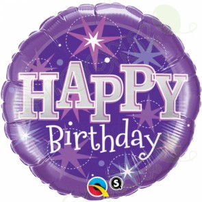 Happy Birthday Sparkle Purple Helium Balloon