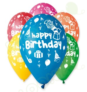 "Happy Birthday Balloons in Assorted Colours 12"" (25 Pack)"
