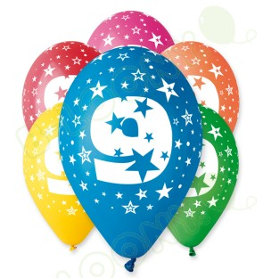 "Number 9 Birthday Balloons in Assorted Colours 12"" (25 Pack)"