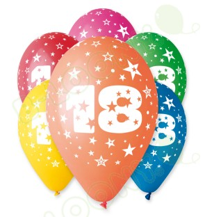 "Number 18 Birthday Balloons in Assorted Colours 12"" (25 Pack)"