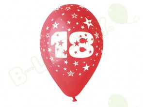 Number 18 Birthday Balloons in Assorted Colours 12