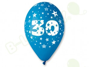 Number 30 Birthday Balloons in Assorted Colours 12
