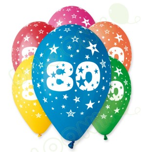 "Number 80 Birthday Balloons in Assorted Colours 12"" (25 Pack)"