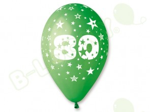 Number 80 Birthday Balloons in Assorted Colours 12